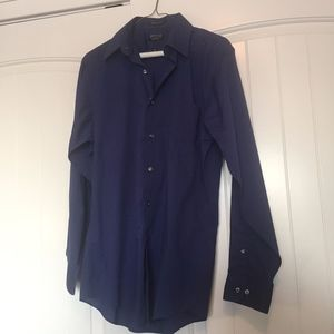 Men's Dark Blue Button Down wrinkle free fitted